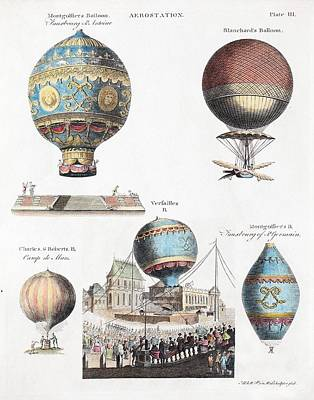 1783 World's First Flying Balloons Design Poster