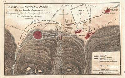 1784 Map Of The Battle Of Plataea Greece Poster by Paul Fearn