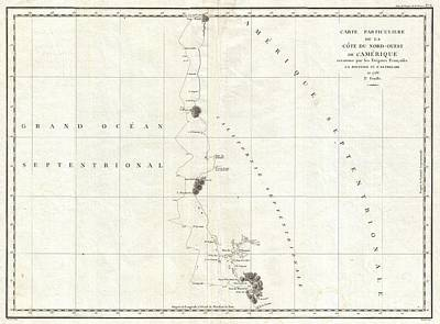 1786 La Perouse Map Of San Francisco Monterey Bay California And Oregon Poster by Paul Fearn