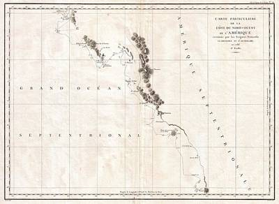 1786 La Perouse Map Of Vancouver And British Columbia Canada Poster