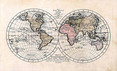 Poster featuring the photograph 1791 Antique World Map Die Funf Theile Der Erde by Karon Melillo DeVega