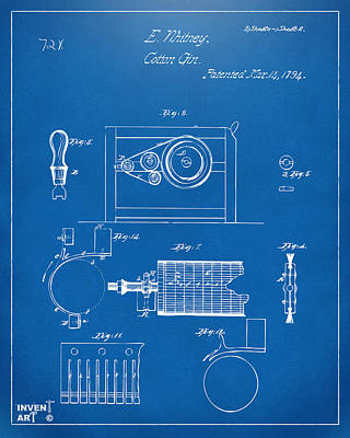 1794 Eli Whitney Cotton Gin Patent 2 Blueprint Poster