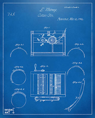 1794 Eli Whitney Cotton Gin Patent Blueprint Poster