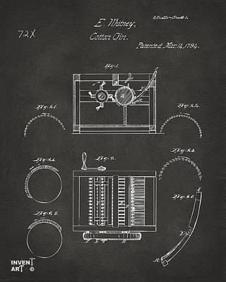 1794 Eli Whitney Cotton Gin Patent Gray Poster