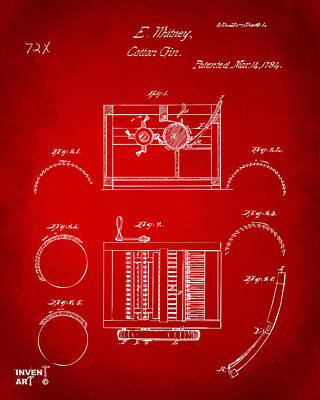 1794 Eli Whitney Cotton Gin Patent Red Poster