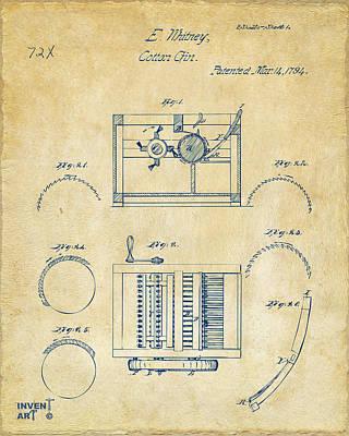 1794 Eli Whitney Cotton Gin Patent Vintage Poster by Nikki Marie Smith