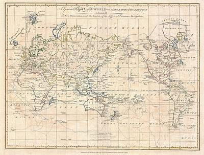 1799 Cruttwell Map Of The World On Mercators Projection Poster by Paul Fearn