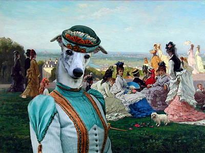Whippet Art Canvas Print Poster by Sandra Sij