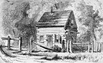 1800s 1850s The Log Schoolhouse Poster