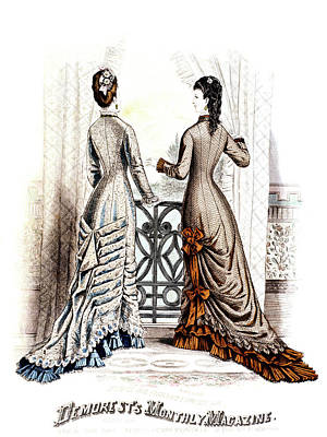 1800s 1870s Fashion Plate Summer Poster