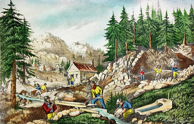1800s Currier & Ives Color Engraving Poster
