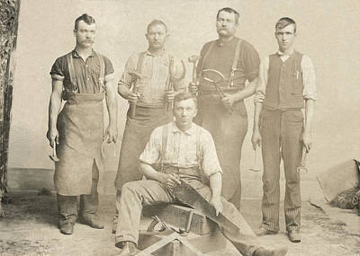 1800's Vintage Photo Of Blacksmiths Poster by Charles Beeler