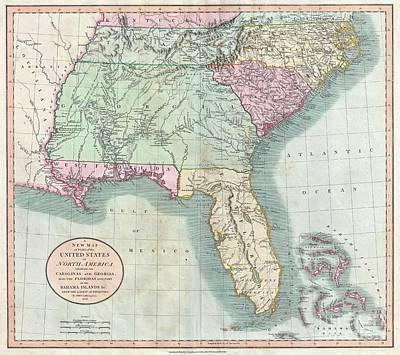 1806 Cary Map Of Florida Georgia North Carolina South Carolina And Tennessee Poster by Paul Fearn