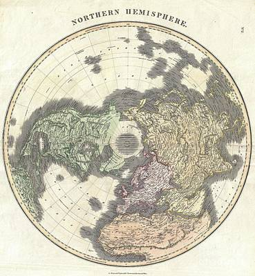 1814 Thomson Map Of The Northern Hemipshere And Arctic Poster by Paul Fearn