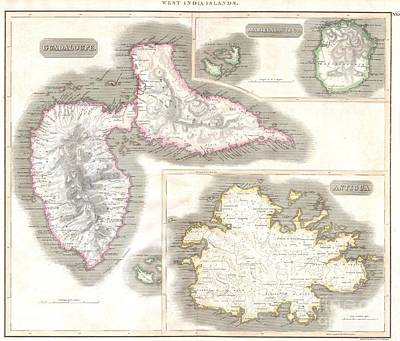 1815 Thomson Map Of Guadaloupe Antigua Marie Galante  West Indies Poster by Paul Fearn