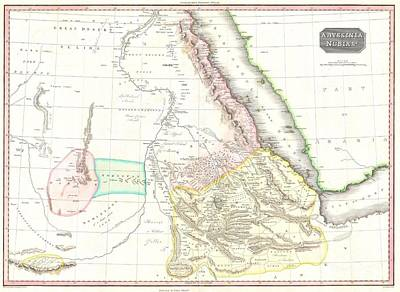 1818 Pinkerton Map Of Abyssinia  Ethiopia  Sudan And Nubia Poster by Paul Fearn