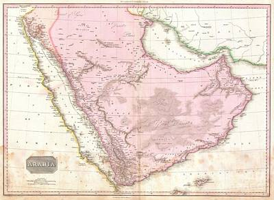1818 Pinkerton Map Of Arabia And The Persian Gulf Poster