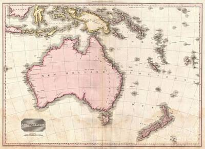 1818 Pinkerton Map Of Australia And New Zealand Poster by Paul Fearn