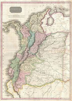 1818 Pinkerton Map Of Northwestern South America  Poster by Paul Fearn