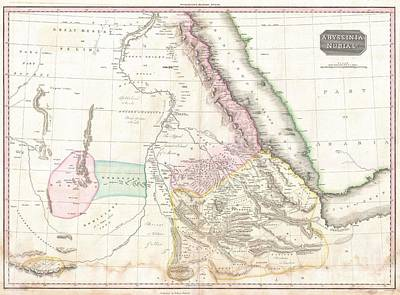 1818 Pinkerton Map Of Nubia Sudan And Abyssinia Poster by Paul Fearn