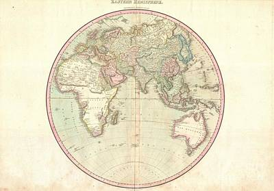 1818 Pinkerton Map Of The Eastern Hemisphere  Poster by Paul Fearn
