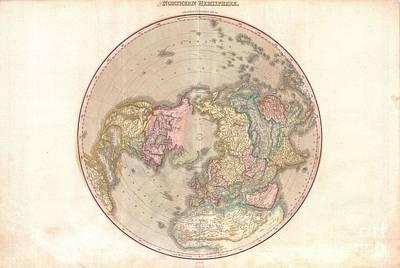 1818 Pinkerton Map Of The Northern Hemisphere  Poster