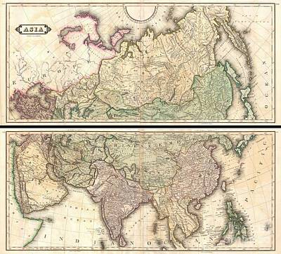 1820 Lizars Wall Map Of Asia Poster by Paul Fearn