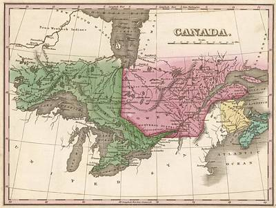 1824 Canada Vintage Map Print Poster by Helena Kay