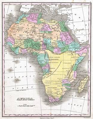 1827 Finley Map Of Africa Poster by Paul Fearn