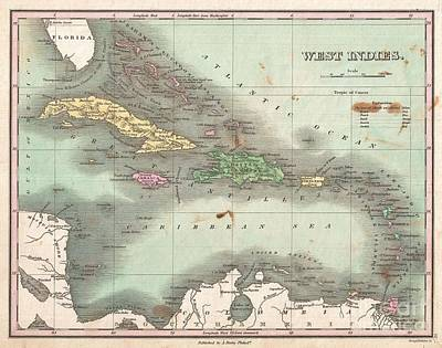 1827 Finley Map Of The West Indies Caribbean And Antilles Poster
