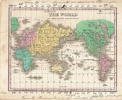 1827 Finley Map Of The World Poster