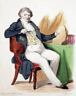 1830 Colour Portrait Baron Cuvier Fossil Poster