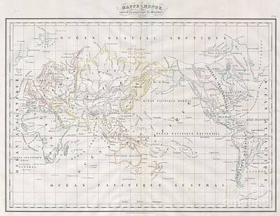 1832 Malte Brun Map Of The World On Mercator Projection Poster by Paul Fearn