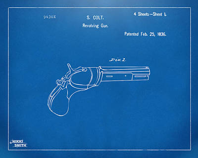 1836 First Colt Revolver Patent Artwork - Blueprint Poster by Nikki Marie Smith