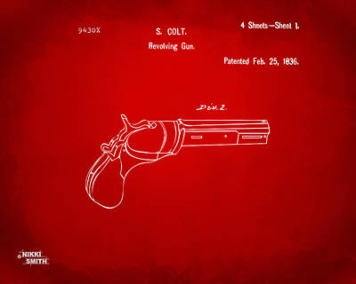 1836 First Colt Revolver Patent Artwork - Red Poster by Nikki Marie Smith