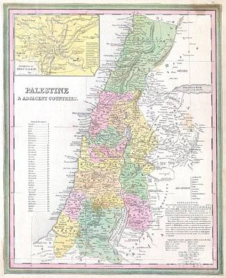 1836 Tanner Map Of Palestine  Israel  Holy Land Poster