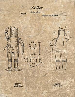 1838 Diving Armor Patent Poster