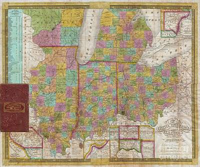 1838 Mitchell Pocket Map Of Ohio Indiana Illinois And Michigan Poster