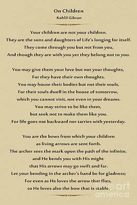 184- Kahlil Gibran - On Children Poster