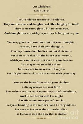 184- Kahlil Gibran - On Children Poster by Joseph Keane
