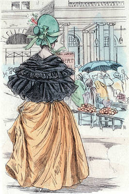 1840, Womens Fashion In Nineteenth-century Paris Poster by Artokoloro