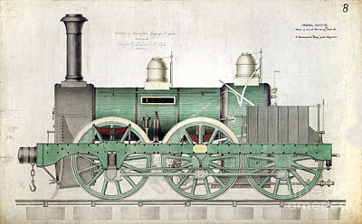 1843 Locomotive Luggage Engine Poster
