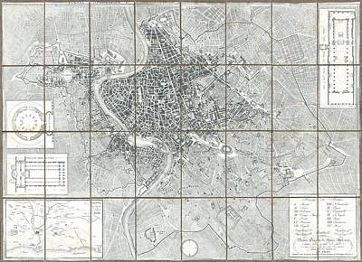 1843 Monaldini Case Map Of Rome Poster by Paul Fearn