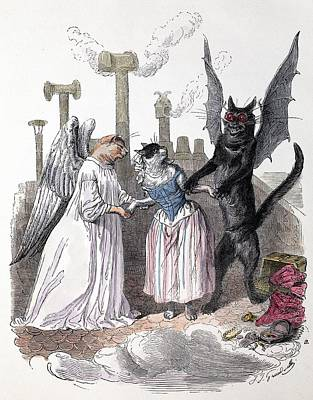 1845 Anthropomorphic Devil Angel Cats Poster