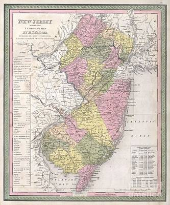 1846 Mitchell  Tanner Map Of New Jersey Poster