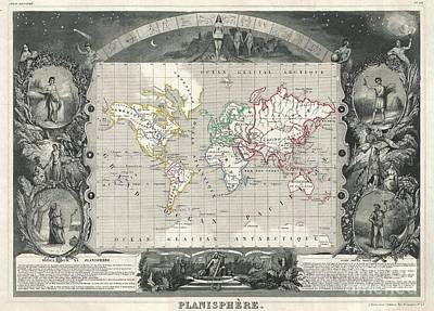 1847 Levasseur Map Of The World Poster by Paul Fearn