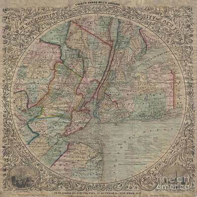 1848 Colton Map Of New York City And Vicinity Poster