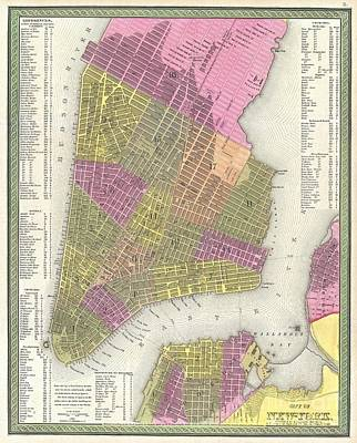 1848 Mitchell Map Of New York City Poster
