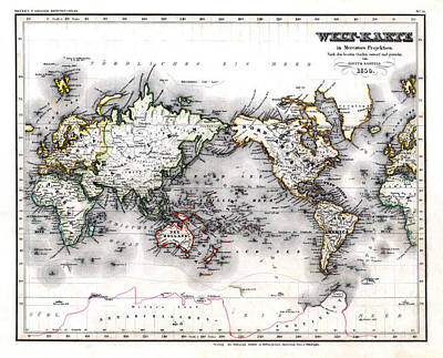 Poster featuring the photograph 1850 Antique World Map Welt Karte In Mercators Projektion by Karon Melillo DeVega