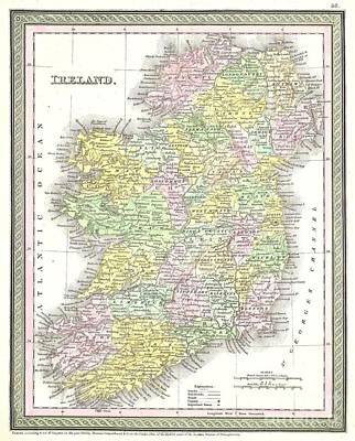 1850 Mitchell And Cowperthwait Map Of Ireland Poster